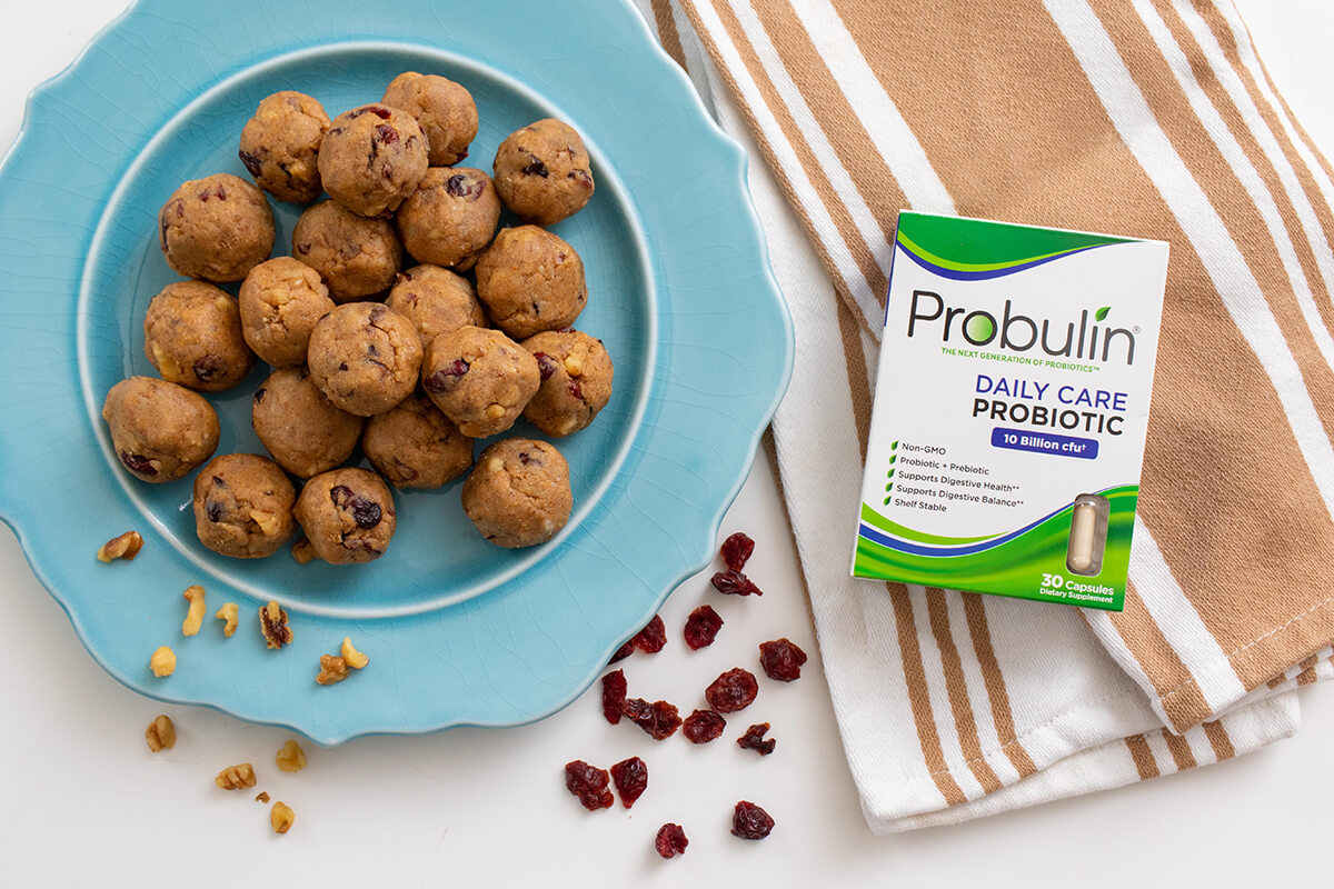 Cranberry Energy Bites with Probulin Daily Care Probiotic